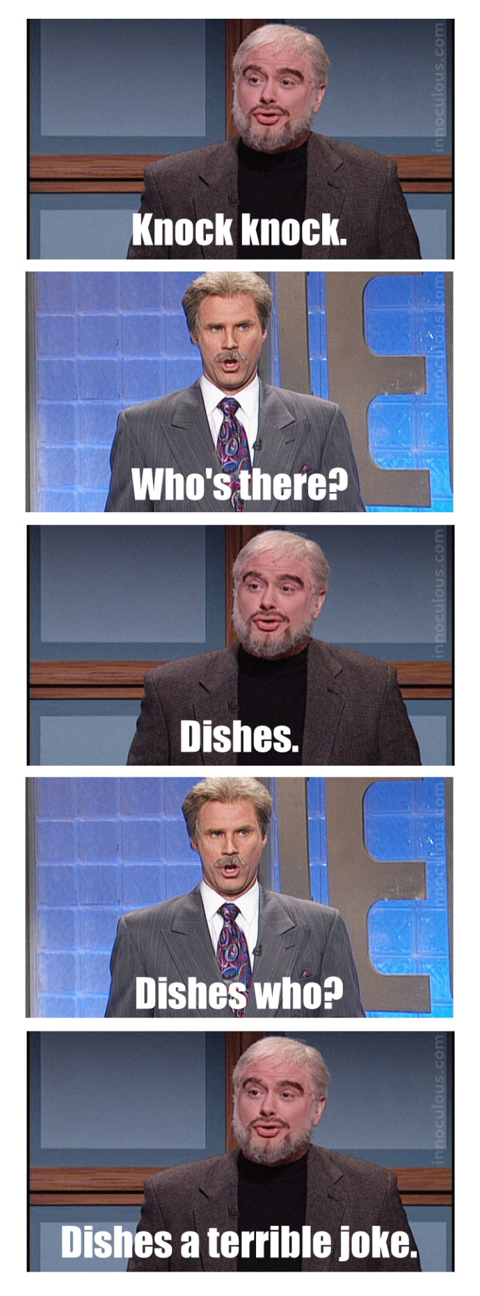 Knock knock. Who's there? Dishes. Dishes who? Dishes a terrible joke.
