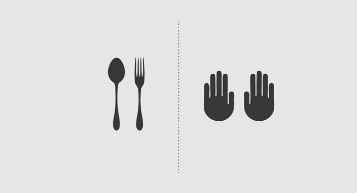 Two kinds of people hand or fork