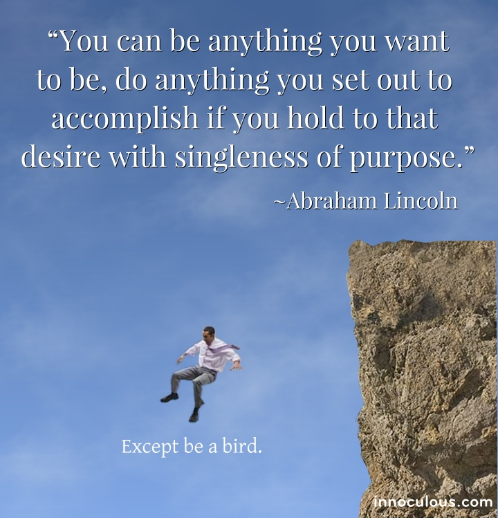 You can be anything you want to be, do anything you set out to accomplish if you hold to that desire with singleness of purpose ~ Abe Lincoln Quote