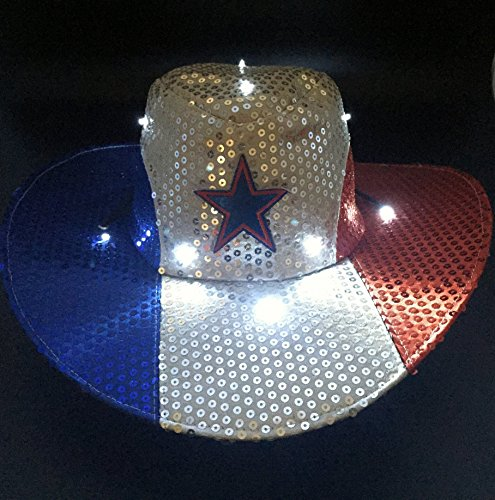 266afcec3e479 GIFTEXPRESS Light Up Patriotic Cowboy Hat Patriotic Sequin Cowboy ...