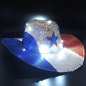 GIFTEXPRESS-Light-Up-Patriotic-Cowboy-HatPatriotic-Sequin-Cowboy-HatStar-Cowboy-HatPatriotic-LED-Cowboy-Hat4th-of-July-Costume-Hat-0