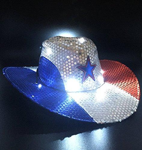 68db3a76747 GIFTEXPRESS Light Up Patriotic Cowboy Hat Patriotic Sequin Cowboy ...