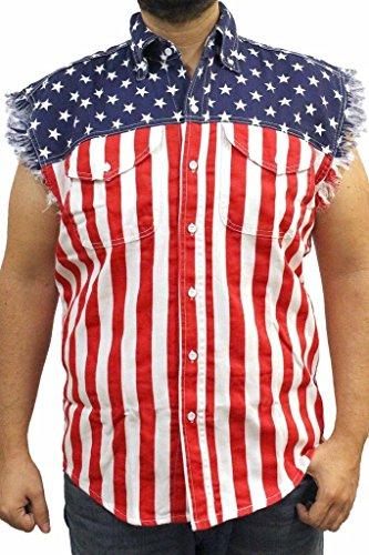 Mens-USA-Flag-Sleevless-Denim-Shirt-Biker-0