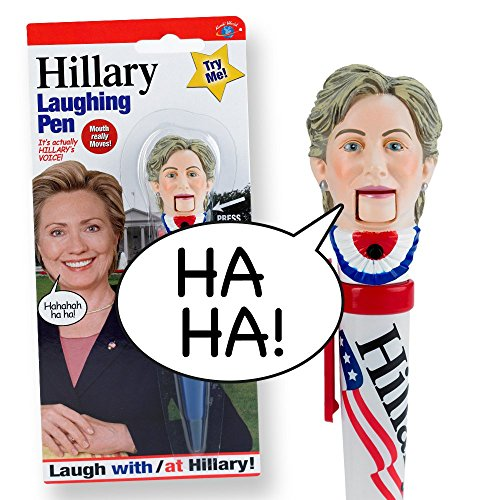 Hillary-Clinton-Laughing-Pen-Mouth-Moves-Hillarys-REAL-LAUGH-Funny-Gift-for-for-Hillary-Donald-Trump-Fans-Superior-Audio-Quality-Replaceable-Batteries-Included-Its-HILLarious-0