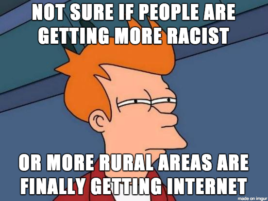 Not sure if people are getting more racist