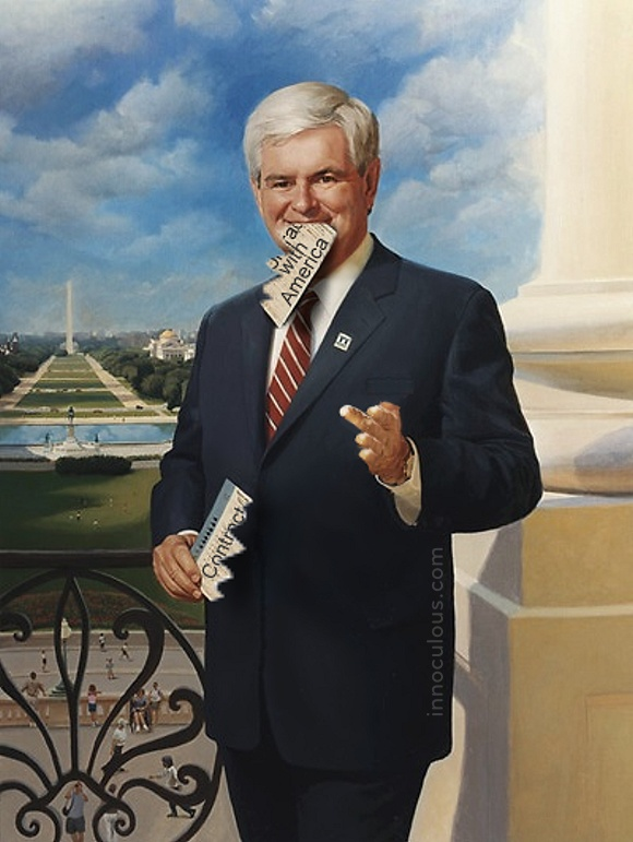 Newt is a man a fewer words these days, but that's because he has to eat them so often.