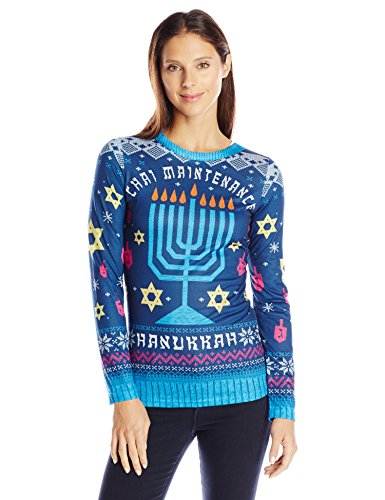 Faux-Real-Womens-Chai-Maintenance-Hanukkah-Sweater-Long-Sleeve-T-Shirt-Multi-XX-Large-0