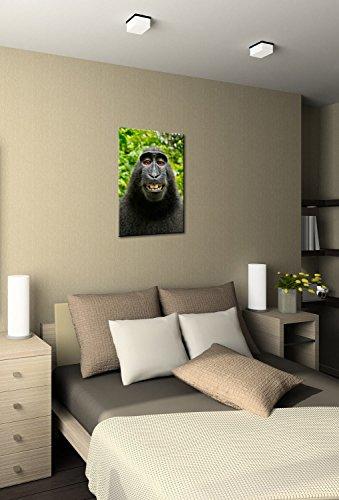 Monkey Selfie Premium Canvas Art Print 16x24 Inch
