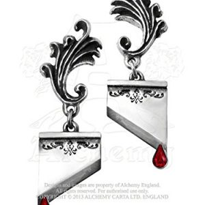 Marie-Antoinette-Miniature-Guillotine-Blade-Red-Gemstone-Earrings-By-Alchemy-Gothic-0